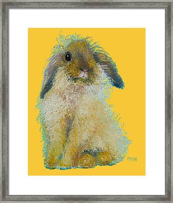 Bunny Painting On Yellow Background Framed Print by Jan Matson