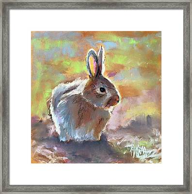 Framed Print featuring the pastel Bunny by Pattie Wall