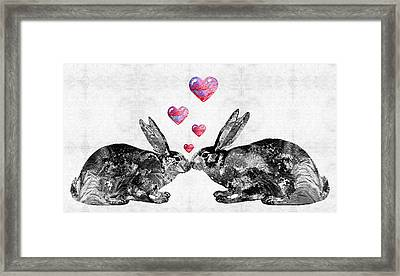 Bunny Rabbit Art - Hopped Up On Love 2 - By Sharon Cummings Framed Print by Sharon Cummings