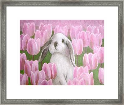 Bunny With Tulips Framed Print