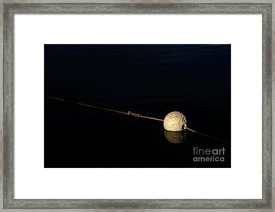 Framed Print featuring the photograph Buoy At Night by Stephen Mitchell
