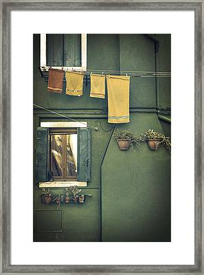 Burano - Green House Framed Print by Joana Kruse