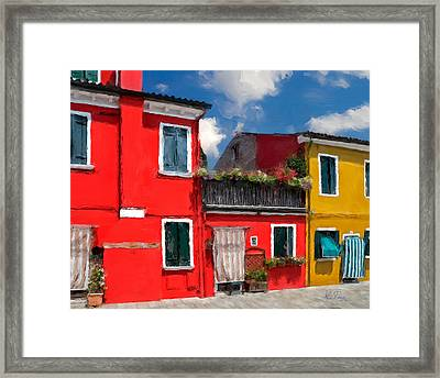 Framed Print featuring the photograph Burano Color Houses. by Juan Carlos Ferro Duque