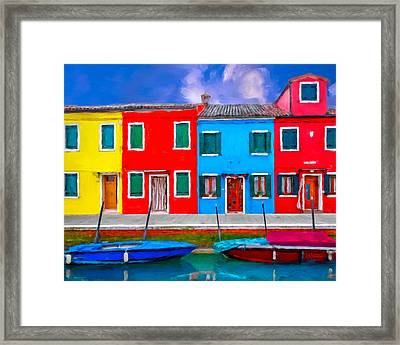 Framed Print featuring the photograph Burano Colorful Houses by Juan Carlos Ferro Duque