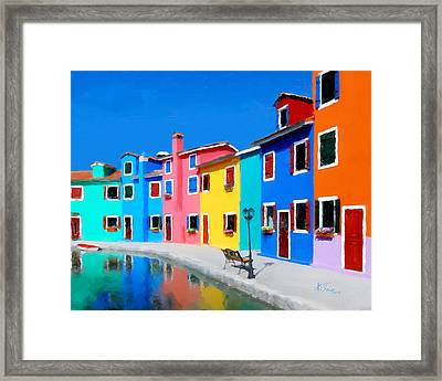 Framed Print featuring the photograph Burano Houses.  by Juan Carlos Ferro Duque