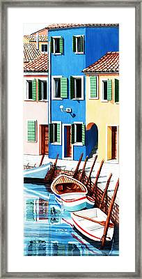 Burano, Reflections Along The Canal Framed Print by Mary Grden's Baywood Gallery