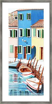 Burano, Italy, Prints From Original Oil Painting Framed Print by Mary Grden Fine Art Oil Painter Baywood Gallery