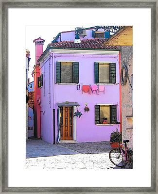 Burano Italy - The Purple House Framed Print