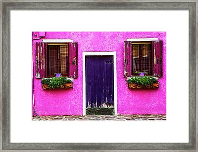 Burano Purple Framed Print by Andrew Soundarajan