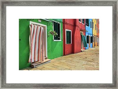 Burano Street Framed Print by Inge Johnsson