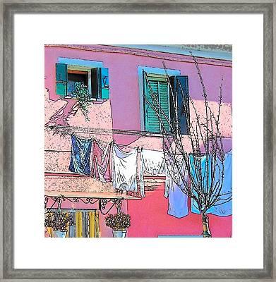 Burano Washing Day Framed Print