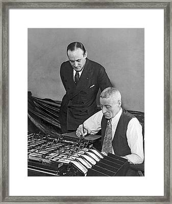 Bureau Check Signing Machine Framed Print by Underwood Archives