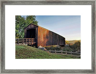 Framed Print featuring the photograph Burfordville Covered Bridge by Cricket Hackmann
