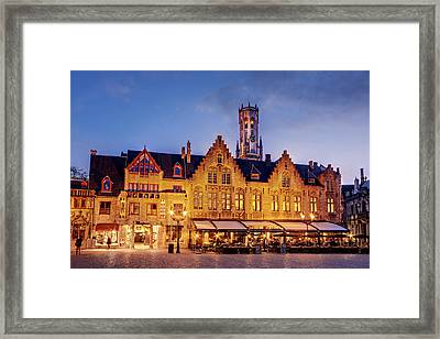 Framed Print featuring the photograph Burg Square Architecture At Night - Bruges by Barry O Carroll