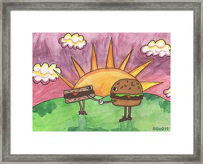 Burger And Patty Framed Print by Michelley QueenofQueens