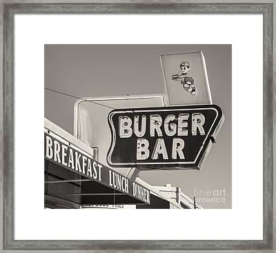 Burger Bar Bw Framed Print
