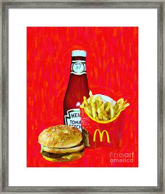 Burger Fries And Ketchup Framed Print by Wingsdomain Art and Photography