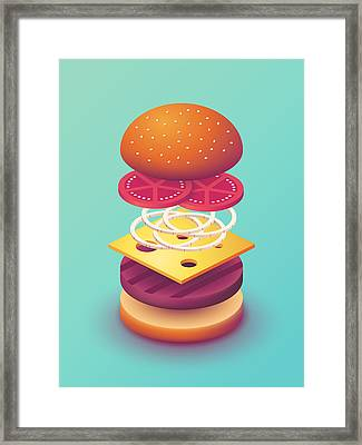 Burger Isometric Deconstructed - Mint Framed Print by Ivan Krpan