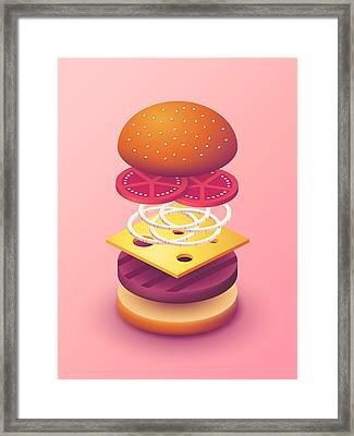 Burger Isometric Deconstructed - Salmon Framed Print by Ivan Krpan