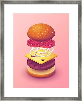 Burger Isometric Deconstructed - Salmon Framed Print