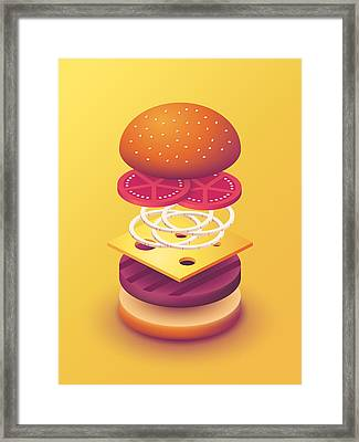 Burger Isometric Deconstructed - Yellow Framed Print by Ivan Krpan