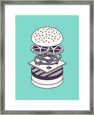 Burger Isometric Lineart Deconstructed - Mint Framed Print by Ivan Krpan