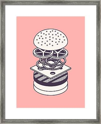 Burger Isometric Lineart Deconstructed - Salmon Framed Print by Ivan Krpan