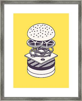 Burger Isometric Lineart Deconstructed - Yellow Framed Print by Ivan Krpan