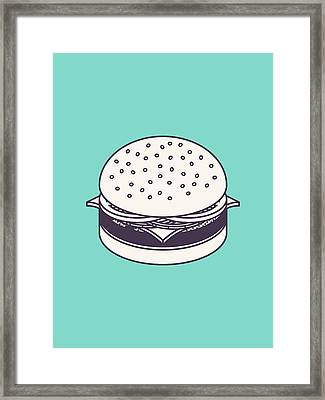 Burger Isometric Lineart - Mint Framed Print by Ivan Krpan