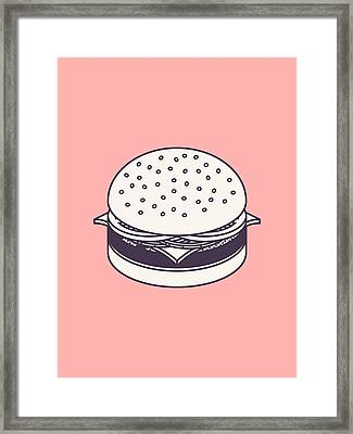 Burger Isometric Lineart - Salmon Framed Print by Ivan Krpan