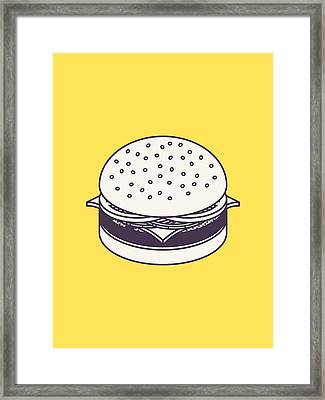Burger Isometric Lineart - Yellow Framed Print by Ivan Krpan