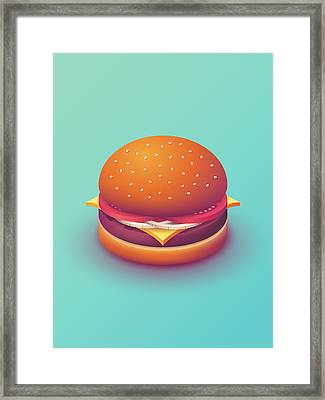Burger Isometric - Plain Mint Framed Print by Ivan Krpan
