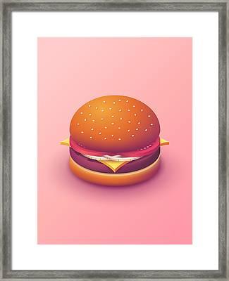Burger Isometric - Plain Salmon Framed Print