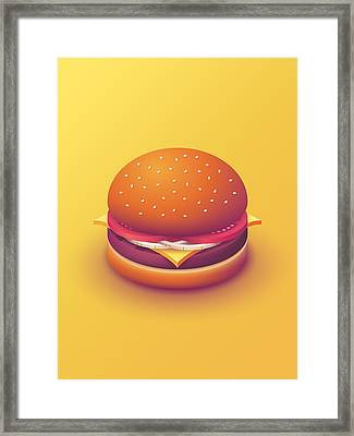 Burger Isometric - Plain Yellow Framed Print by Ivan Krpan
