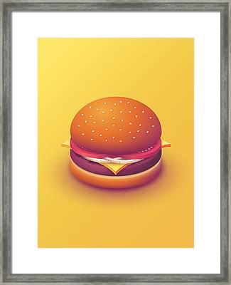 Burger Isometric - Plain Yellow Framed Print