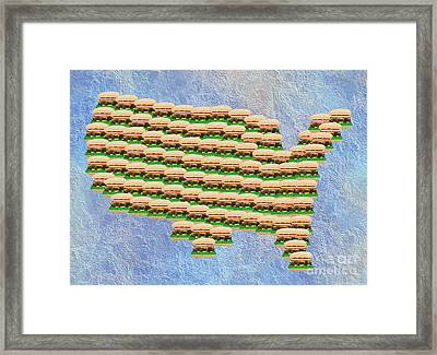 Burger Town Usa Map Framed Print by Andee Design