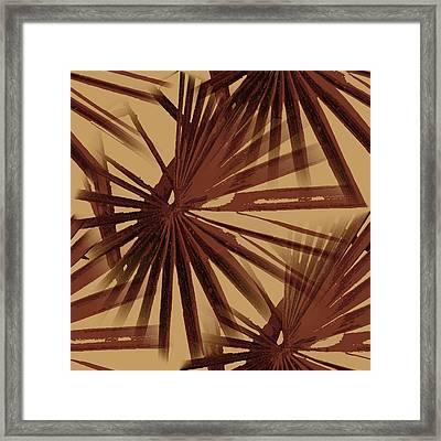 Burgundy And Coffee Tropical Beach Palm Vector Framed Print