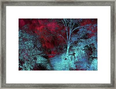 Burgundy Red Moonlight Framed Print by Jenny Rainbow