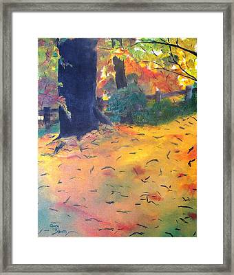 Framed Print featuring the painting Buried In Autumn Leaves by Gary Smith