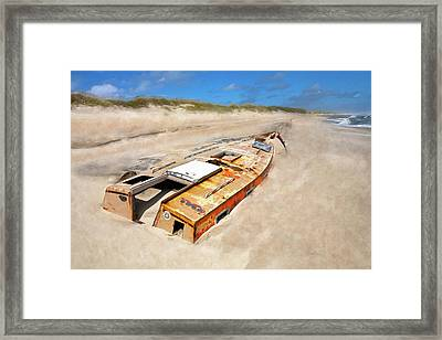 Buried Shipwreck Boat On The Outer Banks Ap Framed Print by Dan Carmichael