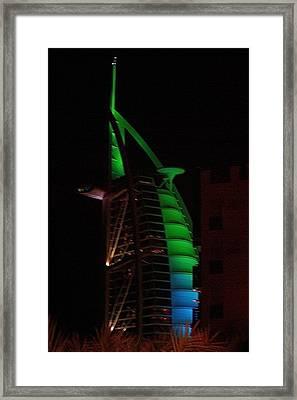 Burj Al Arab Dubai Night Framed Print by Iain MacVinish