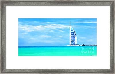 Burj Al Arab Hotel On Jumeirah Beach In Dubai Framed Print