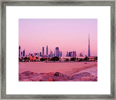Burj Khalifa Previously Burj Dubai At Sunset Framed Print by Chris Smith