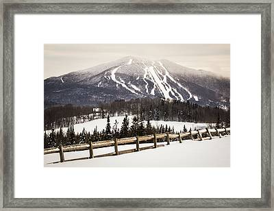 Burke Mountain And Fence Framed Print