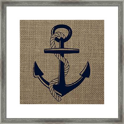 Burlap Anchor Framed Print by Brandi Fitzgerald