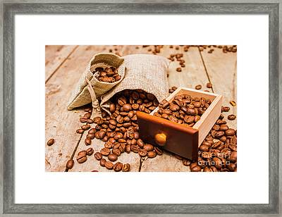 Burlap Bag Of Coffee Beans And Drawer Framed Print by Jorgo Photography - Wall Art Gallery