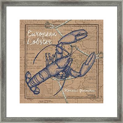 Burlap Lobster Framed Print by Debbie DeWitt