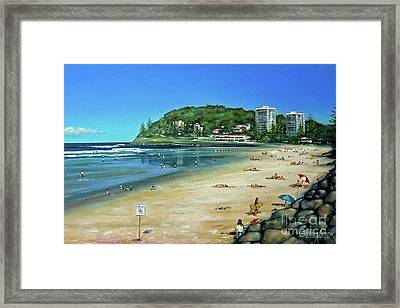 Framed Print featuring the painting Burleigh Beach 100910 by Selena Boron