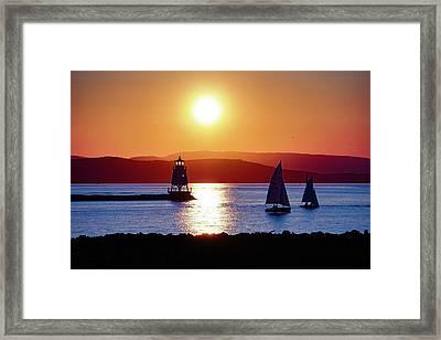Burlington Breakwater Sunset Framed Print