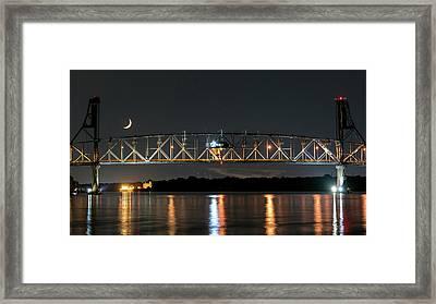 Burlington Bristol Bridge And Crescent Moon Framed Print by Robert Barnes